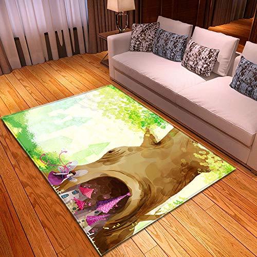 HJKGSX Alfombra De Salón Castillo bajo el arbol Alfombra Pelo Corto Antideslizante Dormitorio Cuarto de los niños Fácil de Manejar 120 x 160 cm