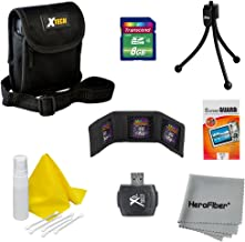 10pc Starter Accessory Kit for Nikon Coolpix S3300, S3500, S3600, S5200, S5300, S6500, S6800, S9500, S9600, S9700 Digital Cameras – Includes: 8 GB Memory Card and Card Reader, Protective Digital Camera Carrying Case, Mini Tabletop Tripod, Memory Card Wallet, Lens Cleaning Fluid, Cleaning Cloth, Universal Screen Protectors with Squeegee Card, 5 Cotton Swabs, HeroFiber Ultra Gentle Cleaning Cloth
