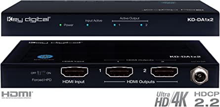 Key Digital KD-DA1x2 1 Input to 2 Outputs HDMI Distribution Amplifier, supports Ultra HD/4K & HDCP 2.2