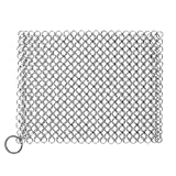 Cast Iron Cleaner, Premium Stainless Steel Cast Iron Scrubber, 8'x6' Rectangular Metal Chainmail Scrubber with Hanging Ring, Ultra-hygienic Anti-Rust Cast Iron Scraper
