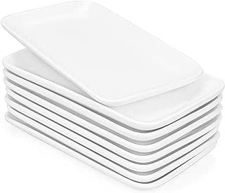Foraineam Set of 8 Pieces 8 Inch Rectangular Porcelain Platters Dessert, Appetizer, Salad Plates White Serving Trays