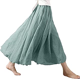 Bohemian Style Elastic Waist Band Cotton Linen Maxi Skirt Women's Dress