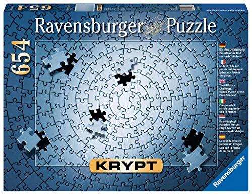 Ravensburger Krypt Puzzle, Schweres Puzzle für Erwachsene und Kinder ab 14 Jahren, Silber, 654 Teile