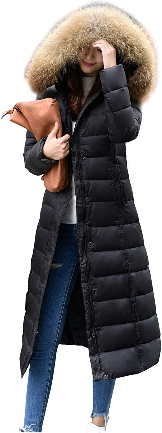 Flygo Women's Winter Thicken Hooded Maxi Down Coat Removable Faux Fur Collar