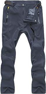 LY4U Pantalones de Senderismo de Secado rápido para Hombres Pantalones para Caminar Impermeables, Transpirables y al Aire ...