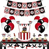 Levfla 70 Pack Pirate Birthday Party Decorations Kids Birthday Photo Prop Banner Garland Balloons Cake Cupcake Toppers Sea Sailing Nautical Themed Party Favor Supplies