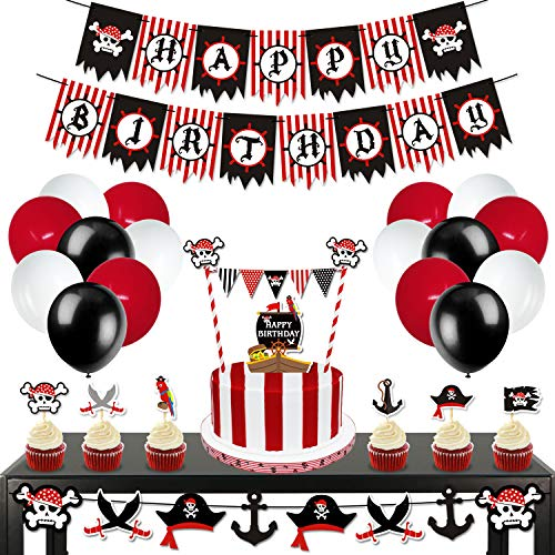 Levfla 70 Pack Pirate Birthday Party Decorations Kits- Happy B-Day Banner,Cake Toppers,Cupcake Sticks,Balloons Set Kids Photo Props Sea Sailing Nautical Party Ideas Supplies
