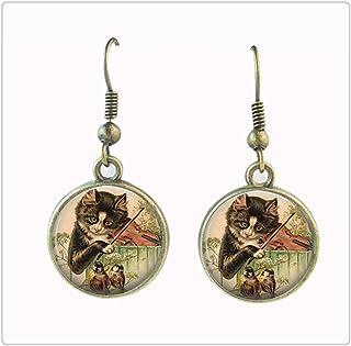 vintage cat earrings violin dangle earring music note jewelry music earrings for women glass cabochon ear pendant jewelry