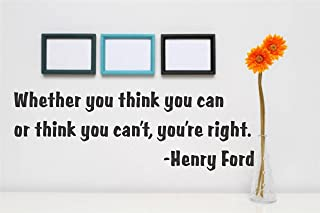 Design with Vinyl Gold 415-148 Decor Item Whether You Think You Can or Think You Can't, You're Right. Henry Ford Quote Home Living Room Bedroom, 6-Inch x 16-Inch, Black