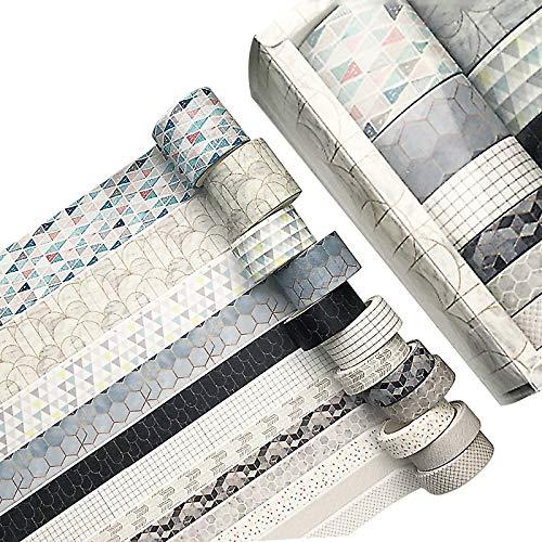 Chingde Cinta Washi, 12 rollos Cinta decorativa ancha washi tape sets cinta adhesiva washi para álbumes de recortes, diarios, decoración de bricolaje, envoltura de regalos y decoración navideña