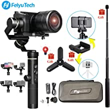 Feiyu G6 Plus 3-Axis Brushless Handheld Gimbal Stabilizer (Extension Bar Tripod Adapter) Splash-Proof 800g Payload 12 Hours Running Time for Smartphone/Action Camera Gopro/Digital Cameras