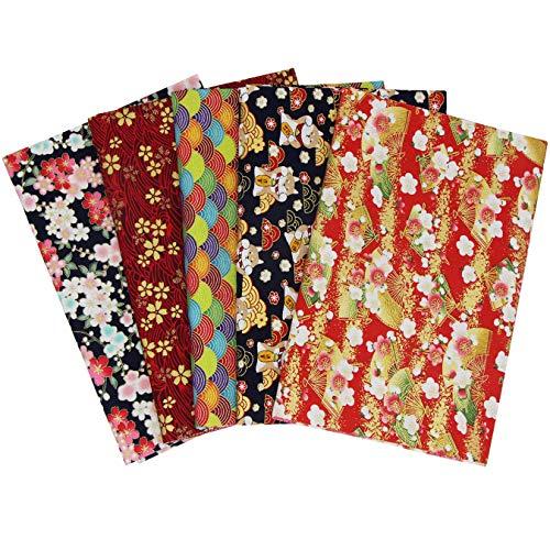 aufodara 5 piezas Tela algodón Telas Japonés Bronceadora Estampada Patchwork 50 x 50cm Cuadrada Algodón Para Coser DIY Telas Decorativas Costura Retales Tela Quilting Scrapbooking (Rojo Navyblue)