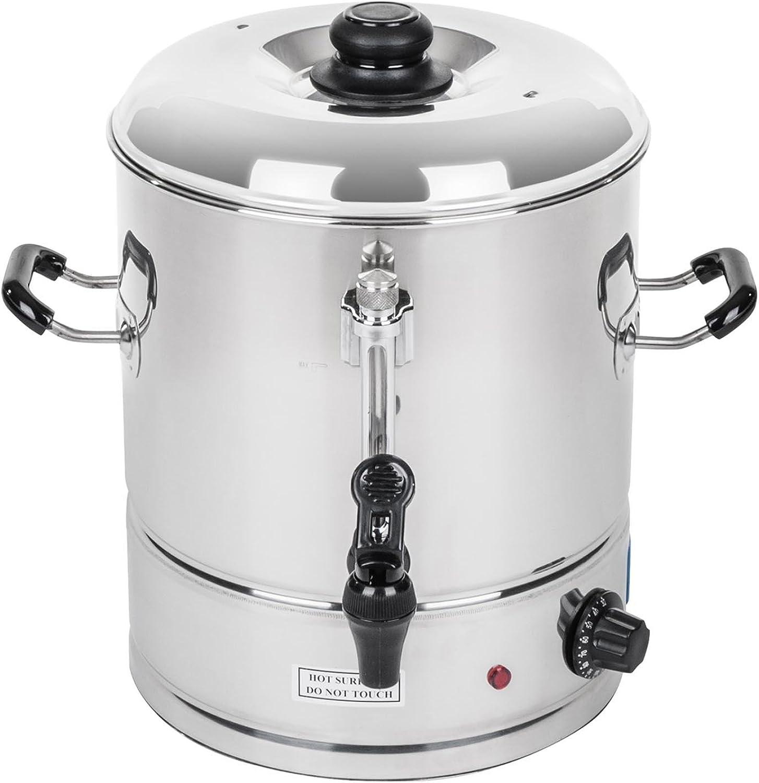 Royal Catering - Wasserkocher Heiwasserspender (30 Liter, ca. 150 Tassen, 42 x 46 x 43 cm, 3.000 W, 100 °C, Edelstahl) Silber