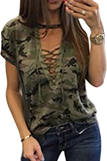 Sexyshine Women's Camouflage Print Tops Bandage Deep V Low-Cut Lace-up Blouses Loose Long Sleeve T-Shirt