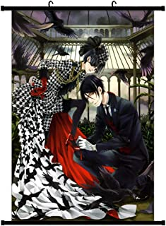 WerNerk Anime Black Butler Kuroshitsuji Poster Fabric Scroll Painting Wall Picture Wall Scroll Hanging Poster Decor(3 (60x90 cm Style 4)