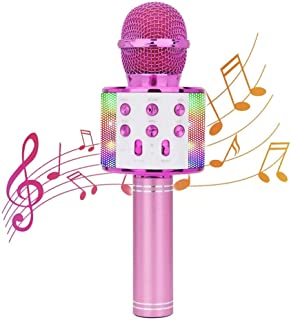 4 in 1 Wireless Bluetooth Karaoke Microphone with LED Lights,Handheld Portable Microphone for Kids, Home KTV Player with Record Function, Compatible with Android & iOS Devices (Pink)