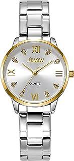 Womens Analog Quartz Wrist Watch Steel Bracelet Light Golden Mild Luxury Bussiness Watch
