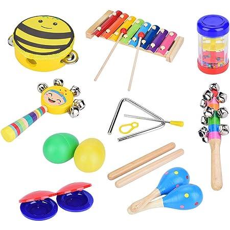 Juego de instrumentos musicales, 16 piezas de madera, música, preescolar, juguetes educativos, xilófono, huevo, coctelera, favores de la fiesta, ...