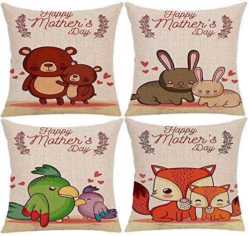 HNDXLHH Funda de cojín 45x45 Animales Caqui Funda de Almohada Lino de Algodón Fundas Cojines Sofa para Sofá Cama Hogar Decorativo Set de 4