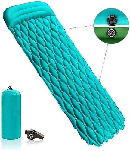 DLLzq Matelas Camping Gonflable Ultra-LéGer avec Oreillers, Matelas RéSistant à l'eau pour RandonnéE Plage Tente Et Voyages,vert-WithpilFaibles