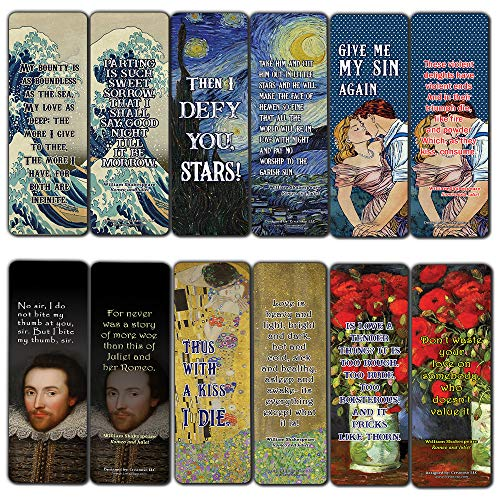 Love Shakespeare Bookmarks Cards (60-Pack) - Romantic Dating Stocking Stuffers Gifts Men Women Husband Wife Boyfriend Girlfriend Him Her - Valentines Anniversary Wedding Party Favors Romeo and Juliet