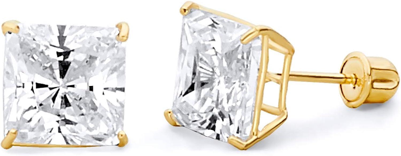 Wellingsale 14K Yellow Gold Polished 7mm Princess Basket Stud Earrings With Screw Back
