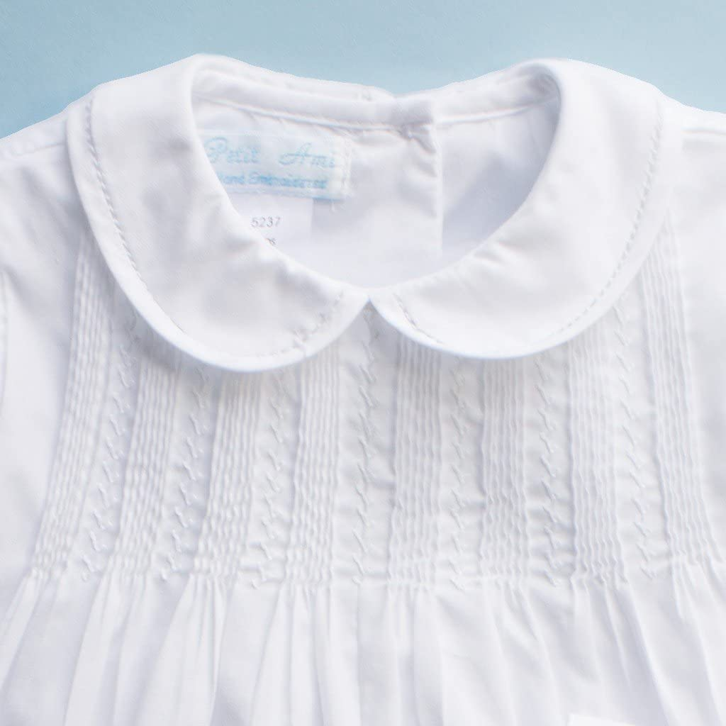 Petit Ami Baby Boys Romper with Pintucks and Feather Stitching