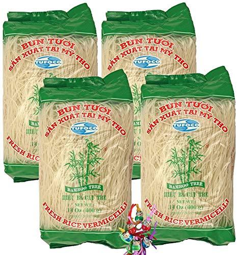 yoaxia ® - 4er Pack - [ 4x 400g ] BAMBOO TREE Vietnam Reisnudeln / Bun Tuoi / Rice Noodle Vermicelli + ein kleines Glückspüppchen - Holzpüppchen