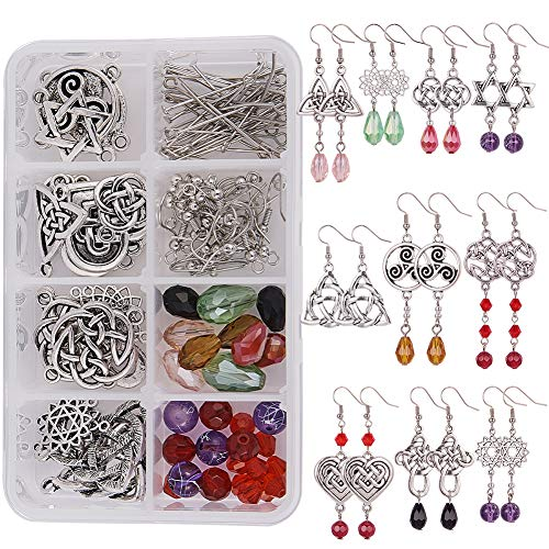 SUNNYCLUE 1 Box DIY 10 Pairs Celtic Knot Dangle Earring Making Kit Celtic Knot Connect Charms Findings Irish Wiccan Flower Star Triangle Heart Love with Beads Earring Hooks Instruction for Beginners