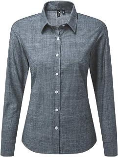 Premier Womens/Ladies Long Sleeve Chambray Shirt