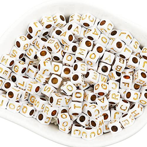 Set di 500 perline a forma di lettere, 6 x 6 mm, colore bianco con oro, quadrati, con foro per il fai da te, per creare gioielli, orologio a forma di cubo, per bambini, in acrilico (mix di 500 pezzi)