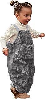 طفل رضيع الفتيات الفتيان الشتاء رومبير ملابس الاطفال الصوف حمالة بذلة السراويل وزرة السراويل (Color : Gray, Size : 4-5 Years)