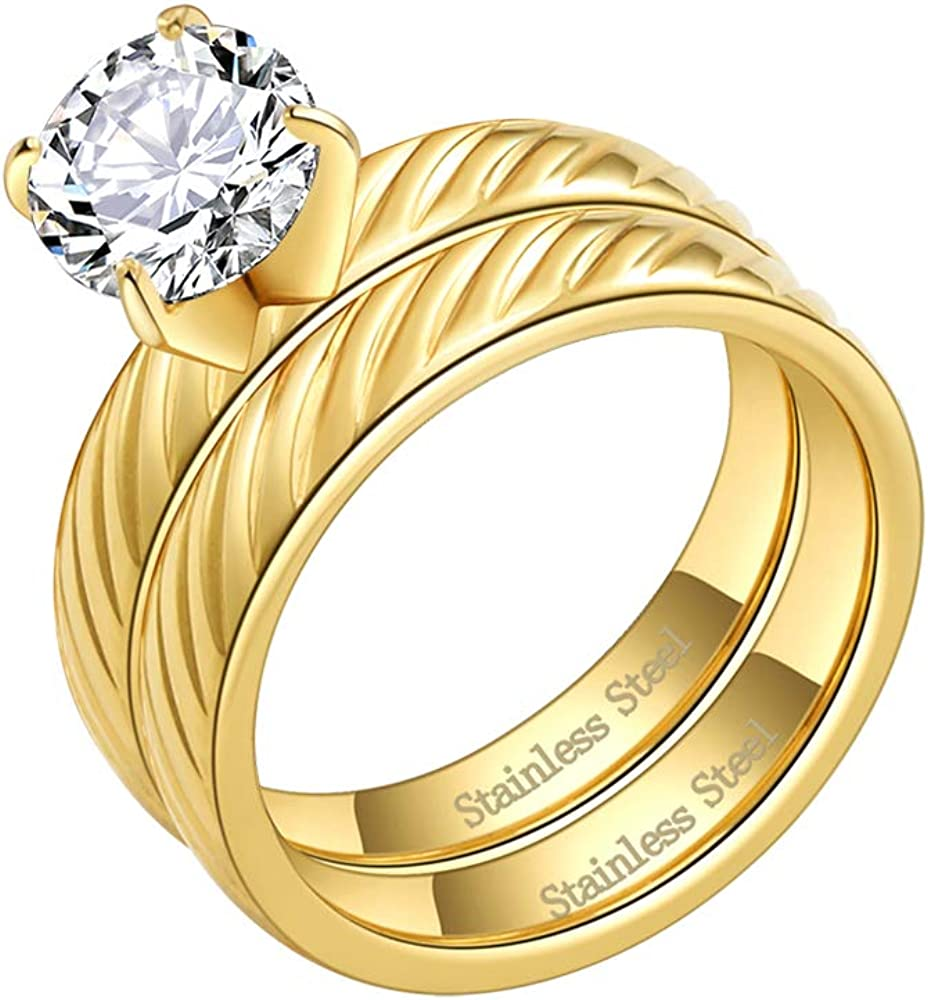 Lavencious Stainless Steel Ring Bridal Set with Clear CZ Stone 4 mm Wedding Ring for Women 6-10