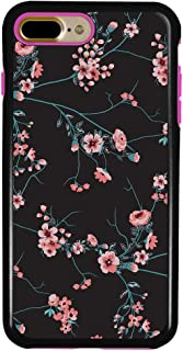 Guard Dog Pink Hybrid Cases for iPhone 7 Plus / 8 Plus with Guard Glass Screen Protector, Pink Cherry Blossoms on Black, Black/Pink Silicone
