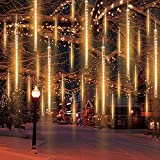 Meteor Lights, Falling Rain Meteor Shower Christmas Lights Supporting 7 Sets Connected, 8 Tubes 192 LED Waterproof Cascading Lights for Party Christmas Decoration (Warm White)