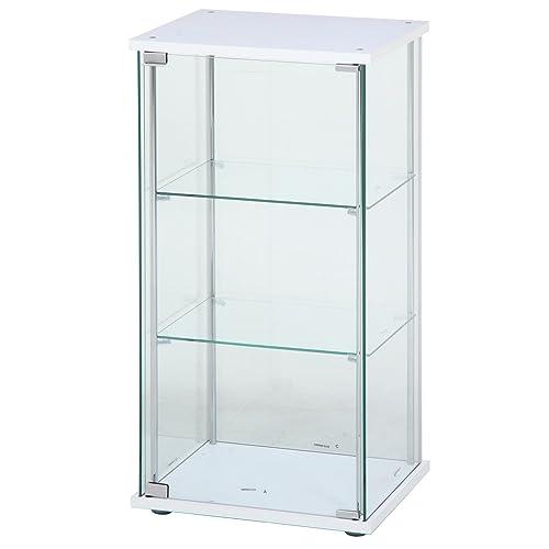 不二貿易 ガラスコレクションケース ホワイト 3段 幅42.5×奥行36.5×高さ86cm 97300
