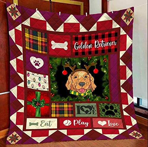 Golden Retriever Lover Quilt Blanket Outdoor Picnic Beach Blanket Twin Throw Queen King Size Bed Quilts Best Decorative for Bed, Couch, Sofa, Chair, Swing, Daybed, Home Decor