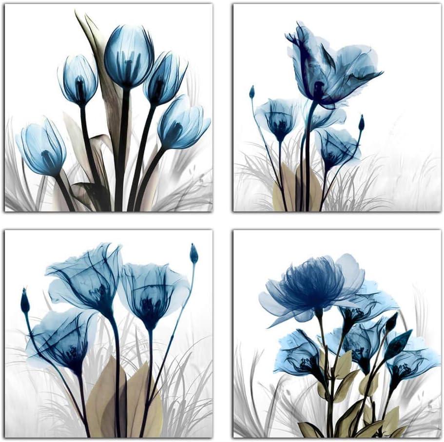 Flower Canvas Prints Wall Art Decor Elegant Panels Blue Tulip 4 Boston Max 80% OFF Mall