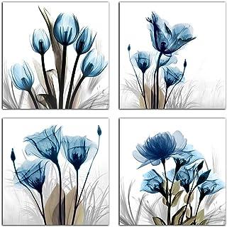 Flower Canvas Prints Wall Art Decor 4 Panels Blue Elegant Tulip Artwork Simple Life..