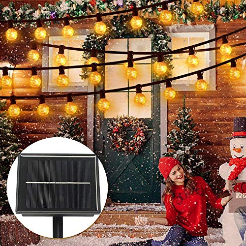 LED Outdoor Garden String Lights Solar Energy Waterproof Bulb String with 25 Bulbs for Terrace Patio Xmas, Warm White