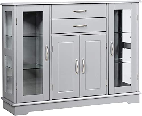 wholesale Giantex Sideboard Buffet Server Storage Cabinet W/ lowest 2 Drawers, 3 Cabinets and Glass wholesale Doors for Kitchen Dining Room Furniture Cupboard Console Table (Gray) online sale