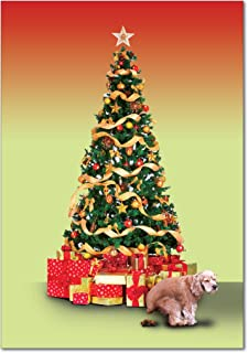 12 'Poopy Dog' Boxed Christmas Cards with Envelopes 4.63 x 6.75 inch, Humorous Christmas Tree with Dog Pooping Holiday Notes, Funny Cocker Spaniel, Inappropriate Christmas Stationery B1424