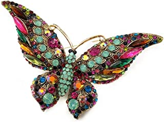 DREAMLANDSALES Vintage Art Deco Statement Large Multicolored Crystal Butterfly Brooch Pin with Turquoise Green Accent