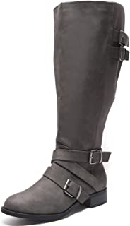 Women's Wide Width Knee High Boots, Low Heel Cozy Comfortable Extra Wide Calf Side Zipper Winter Boots.