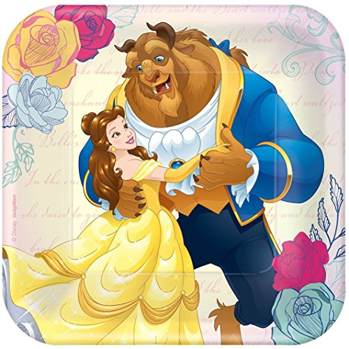Disney Princess Belle Beauty and The Beast Party Pack. Contains 24 Plates, 32 Party Beverage Napkins. Bundle of 5.