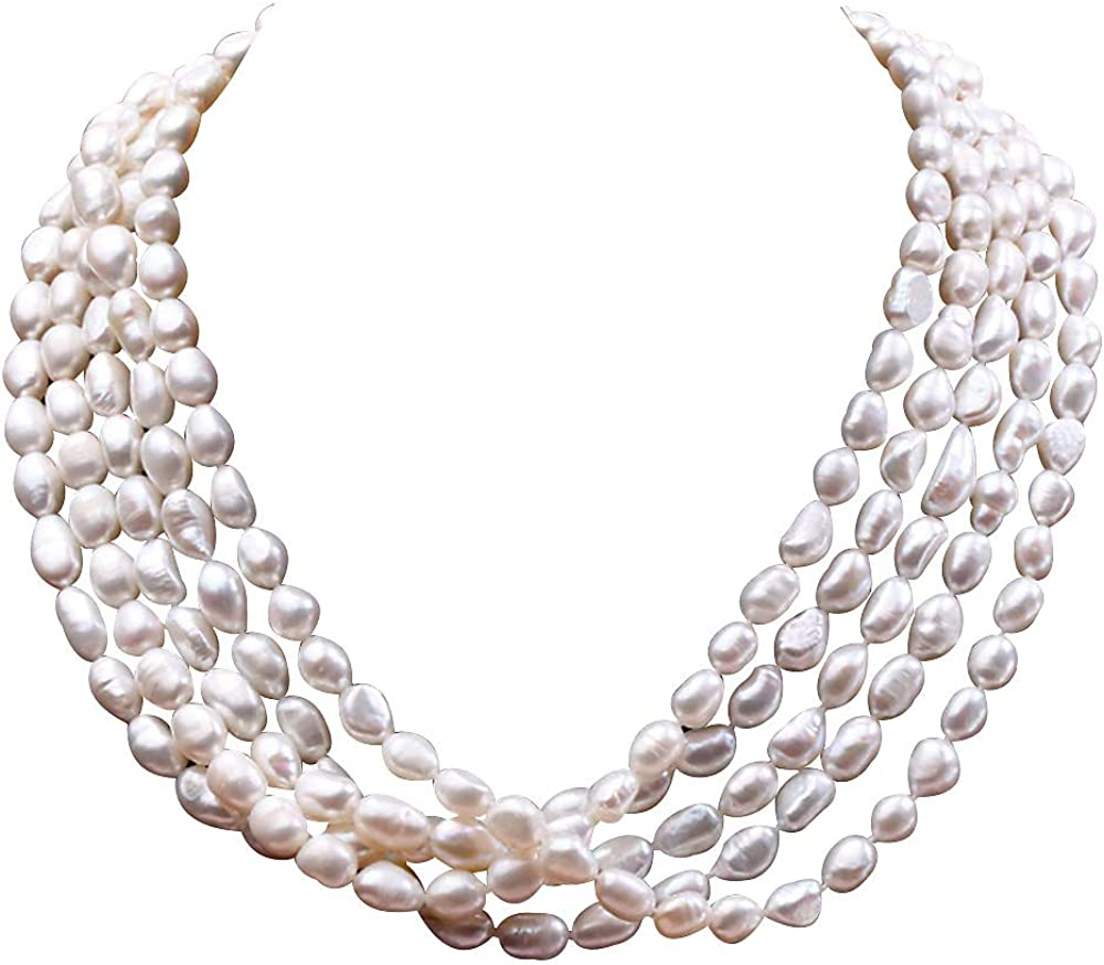 JYX Pearl Multi Strand Necklace Five Strand 7.5-11mm Oval White Freshwater Cultured Pearl Necklace Strand 20