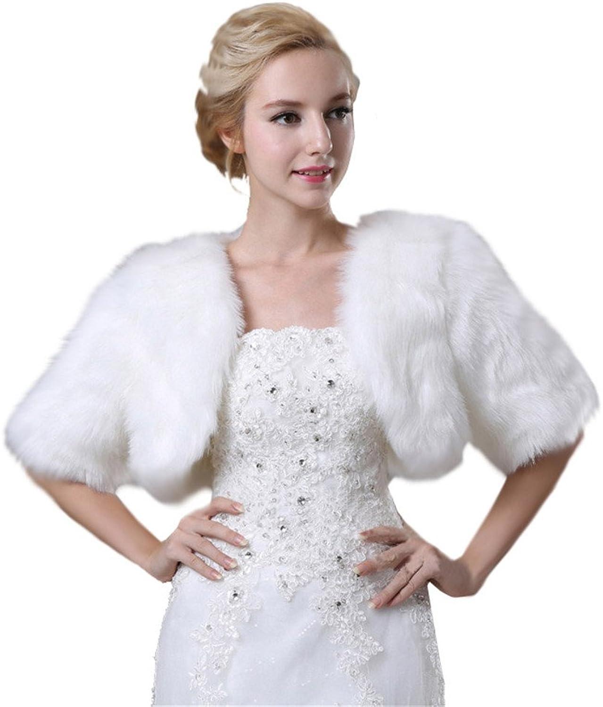 Women's Autumm Faux Fur Half Sleeves Wedding Jackets Coat
