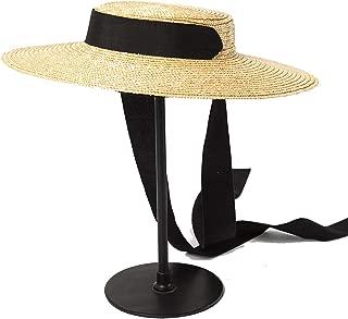 Wide Brim Boater Hat 10cm 15cm Brim Straw Hat Flat Women Summer Kentucky Derby Hat White Black Ribbon Tie Sun