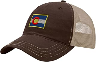 Speedy Pros Colorado Flag State Embroidery Design Richardson Cotton Front and Mesh Back Cap Brown/Khaki