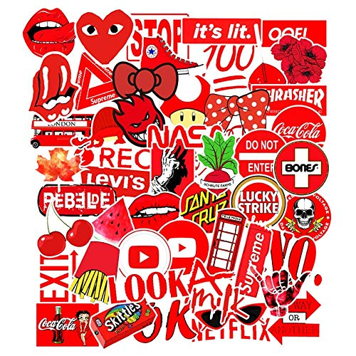 BLOUR 50Pcs Red Style Graffiti Aufkleber Cartoon wasserdicht für Laptop Auto Telefon Gepäck Fahrrad Wandtattoo Skateboard Spielzeug Aufkleber F3